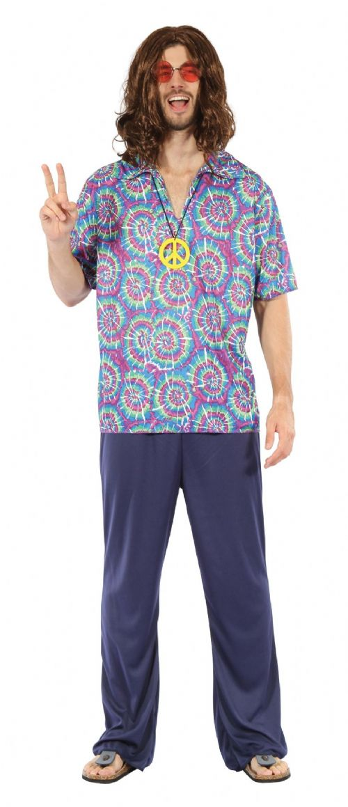 Adults Groovy Psychedellic Costume 60s 70s Hippie Mod Fancy Dress Outfit
